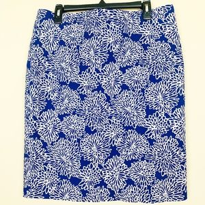 Liz Claiborne Blue Floral Pencil Skirt 14